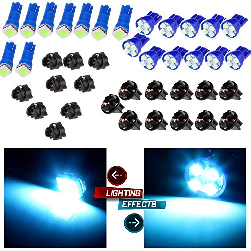 cciyu 11x T10 194 Ice Blue LED Bulbs For 2012 Ram 2500 For Roof Running Cab Marker Clearance Light lamp W/Twist Lock Sockets+ 9x T5 Ice Blue Led 5050 SMD Dashboard Instrument Panel Light Bulbs