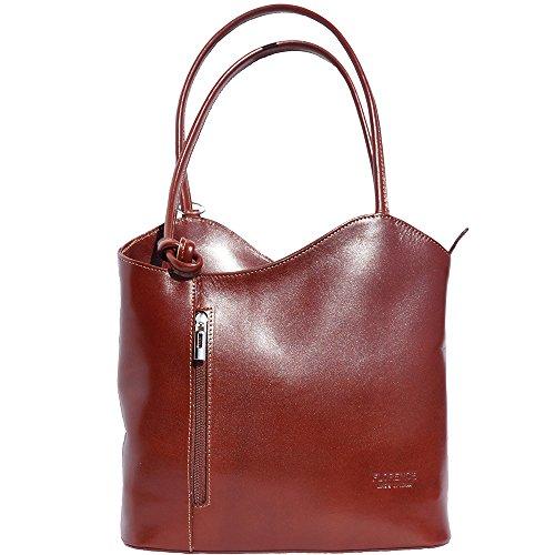 Market Leather Spalla Cloe Trasformabile 207 Vera Borsa Pelle Borse Lucida Marrone Florence A In Zaino wf5qw1