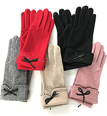 PotomacRose Women Wool Gloves Touchscreen Winter Cold Weather Thick Warm Soft Comfortable Fashion Elegant Touch Screen Texting Driving Riding Running Jogging Skating Outdoor Activities Gloves