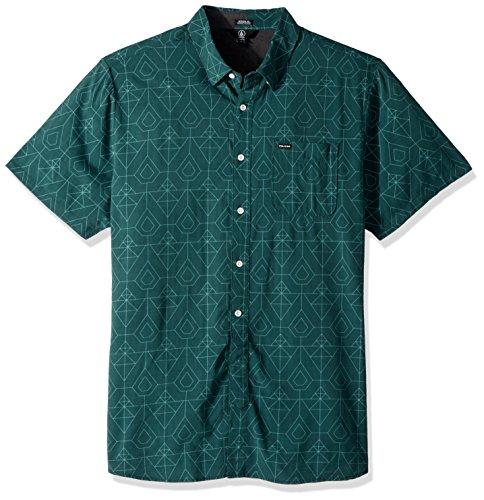 Volcom Men's GEO Print Short Sleeve Woven Button UP Shirt, Ranger Green, Small