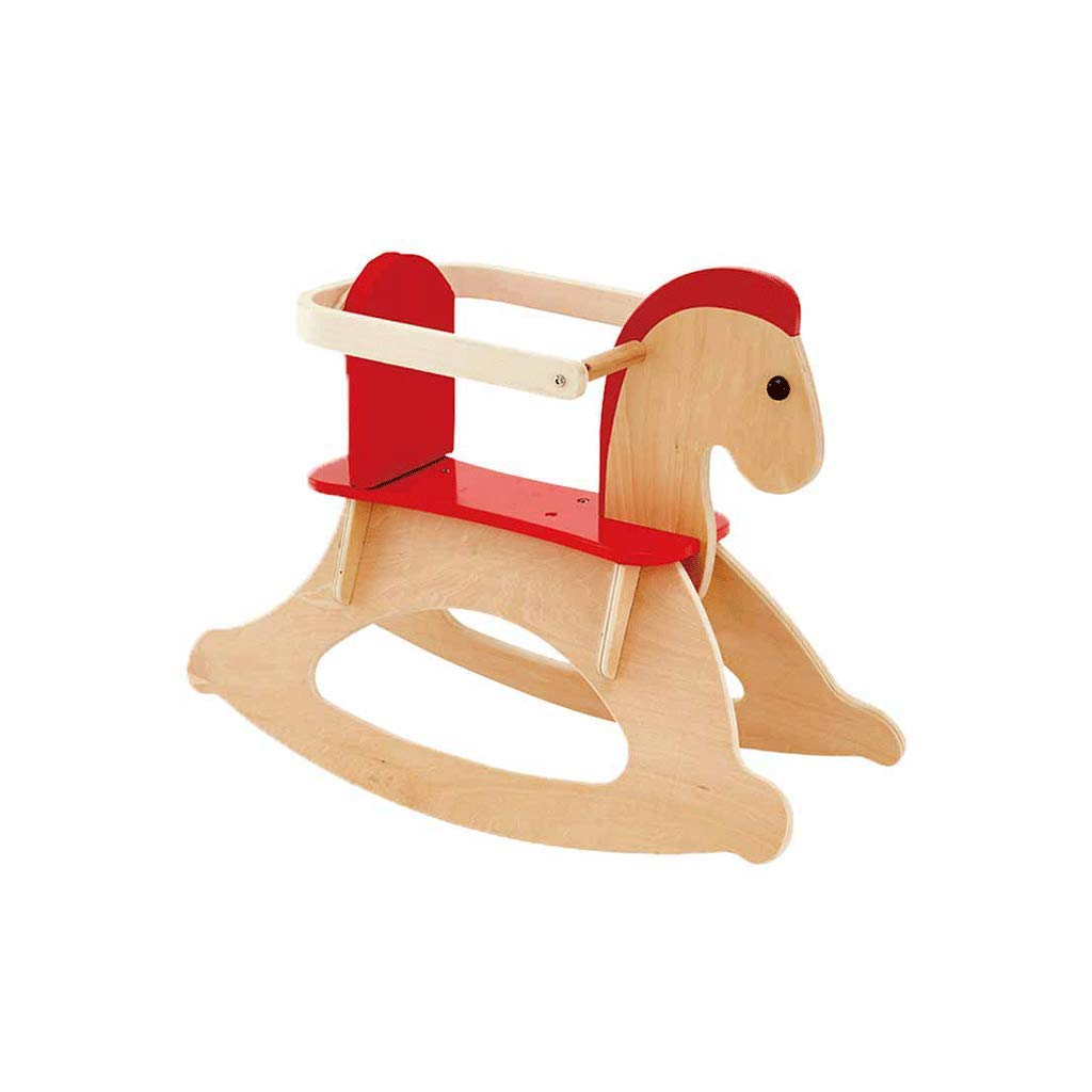 LIUFS-Toy Children's Rocking Horse Solid Wood Toys 2-6 Years Old Safe and Environmentally Friendly (Color : Beige, Size : L)