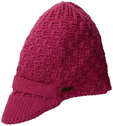 n's Popcorn Beanie with Knitted Visor, Pink, One Size (Logo Knit Cap)