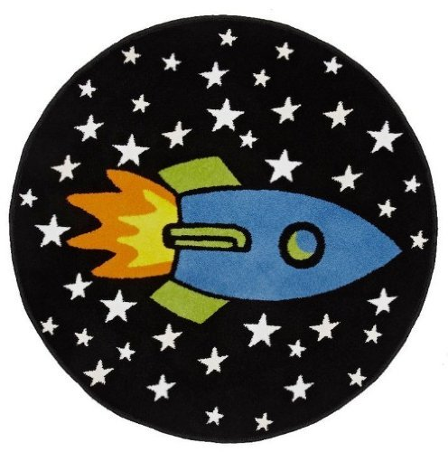 Carpet Trader Childrens Twilight Glow In The Dark Rocket Ship Rug