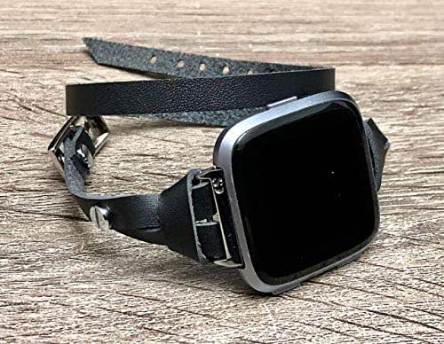 Amazon.com: Silver Jewelry & Black Leather Band for Fitbit