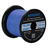 BNTECHGO 22 Gauge Silicone Wire Spool Blue 250 feet Ultra Flexible High Temp 200 deg C 600V 22AWG Silicone Rubber Wire 60 Strands of Tinned Copper Wire Stranded Wire for Model Low Impedance