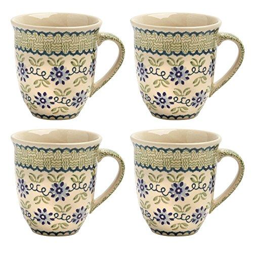 Polish Pottery Blue Floral Basketweave Handmade Ceramic Jumbo Mugs, Set of 4