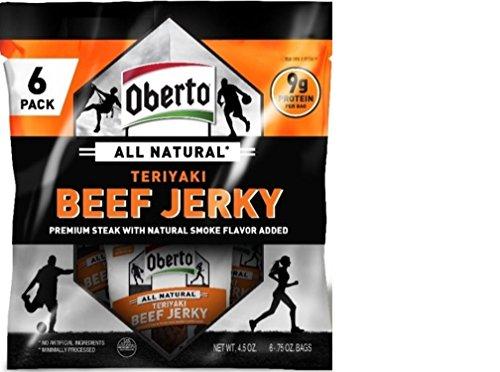 Oberto All Natural Teriyaki Beef Jerky, 6 Bag Multipack, ...