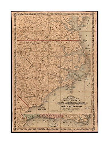 1862 Map North Carolina Colton's new topographical of eastern portion of State of North Carolina with part of Virginia & South Carolina from latest & best authorities Covers North Carolina - Costume Hepburn Diy Audrey