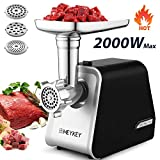 Electric Meat Grinder, Meat Mincer with 3 Grinding Plates and Sausage Stuffing Tubes for Home Use &Commercial, Stainless Steel/Silver/2000W (2000W-)