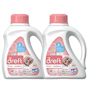 Dreft Stage 1: Newborn Hypoallergenic Liquid Baby Laundry Detergent (HE), Natural for Baby, Newborn, or Infant, 50 Ounce (32 loads), 2 Count
