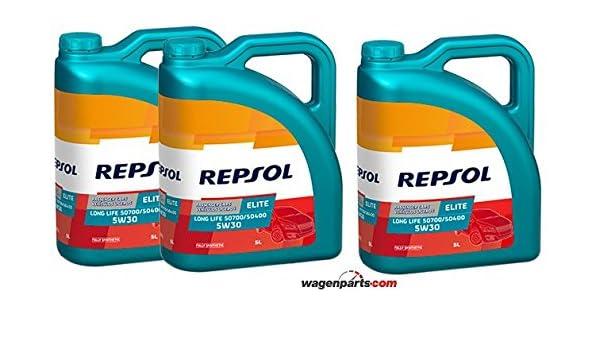 Aceite motor REPSOL Élite Long Life 50700/50400 5W-30 15 LITROS (3x5 litros): Amazon.es: Coche y moto
