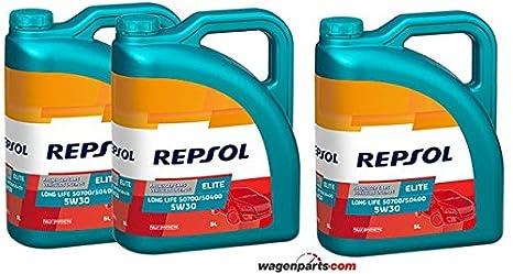 Aceite motor REPSOL Élite Long Life 50700/50400 5W-30 15 LITROS (3x5