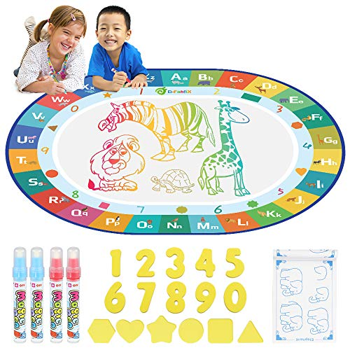 D-FantiX Water Doodle Mat, Large Water Drawing Mat Kids Magic Doodle Board Painting Writing Pad with 4 Magic Pen Educational Toy Gift for Toddlers Boys Girls Rainbow Colors
