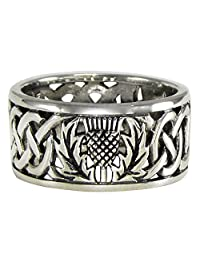 Sterling Silver Wide Scottish Thistle Wedding Band with Celtic Knot Ring (sz 4-15)