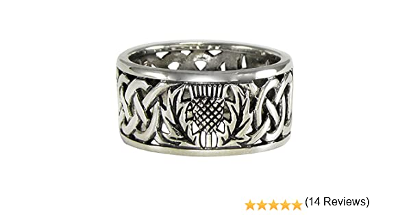 Moonlight Mysteries Sterling Silver Wide Scottish Thistle Wedding Band with Celtic Knot Ring Sizes 4-15