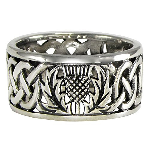 Sterling Silver Wide Scottish Thistle with Celtic Knot Mens Ring Size 11