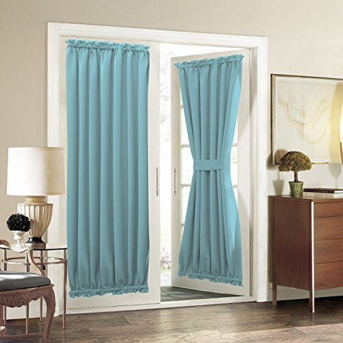 Aquazolax Sliding Glass Door Curtain Panels - Premium Thermal Insulated Solid Blackout Curtains Drapery 54x72 Inches Front Porch/French Door Window Coverings - 1 Panel, Turquoise (Blinds Teal Window)