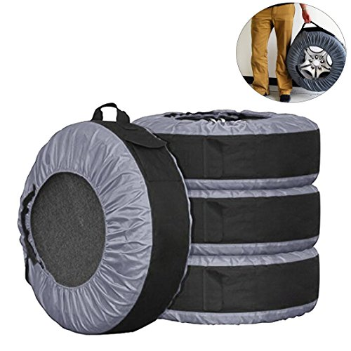FLR Tire Tote Adjustable Waterproof Grey 30in Tire Covers Bags Seasonal Tire Storage Bag for Car Off Road Truck Tire Totes Set of 4  by FLR