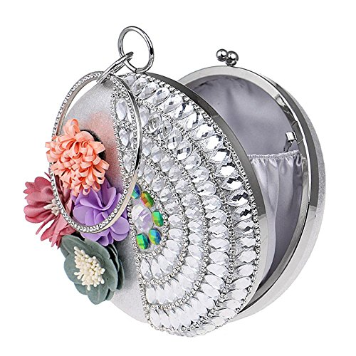 Fleur ronde soirée Ennembre de de main forme faites forme Diamants TuTu Lady Silver de Sacs la en perles Strass à Femmes en 0AqPwxW5EF