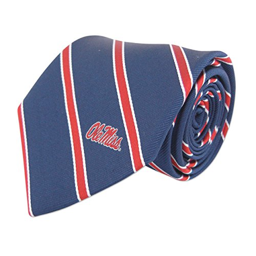 NCAA Mississippi Old Miss Rebels Mens Woven Silk Thin Stripe Collegiate Logo Tie 2, Navy and Red, One Size