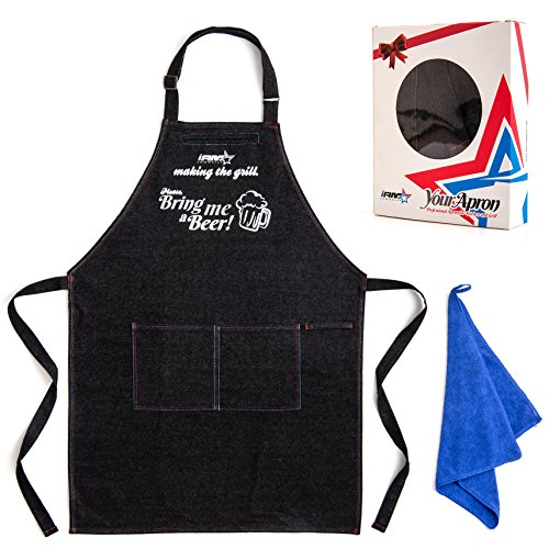 Chef Apron for Men with Pockets | Funny Heavy-Duty Aprons for Grilling, BBQ, Baking or Cooking | Stay Clean in the Kitchen | Black Denim 100% Adjustable Size | BONUS Hand Towel Set | Great GlFT ()
