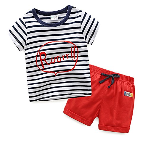 Evelin LEE Baby Boy Cotton Short Sleeve Shirt and Shorts 2pcs Set Clothes (3 years, Stripe)