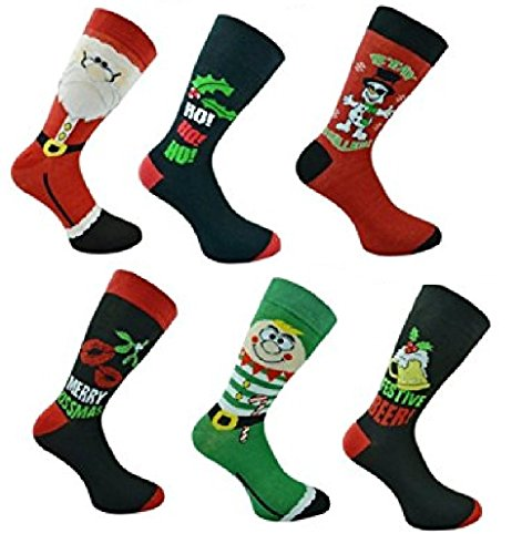 6 Pairs Mens Novelty Fun Character Christmas Socks, Stocking Fillers or Gifts