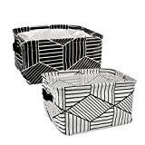 Homiak Black and White Geometry Theme Canvas Fabric Foldable Organizer Storage Basket with Handle, Collapsible and Convenient for Nursery Babies Room & Shelves & Desks - Set of 2