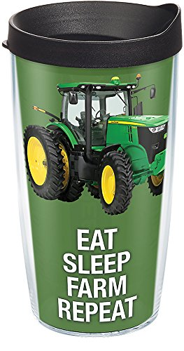 (Tervis 1274089 John Deere - Colossal Tractor Tumbler with Wrap and Black Lid 16oz, Clear)