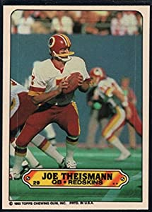 Football NFL 1983 Topps Stickers #29 Joe Theismann Redskins