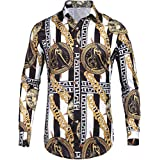 Pacinoble Mens Dress Shirt Fashion Noble Long Sleeve Vintage Italian Button-up Print Luxury Casual Button Down Shirts (White XL)