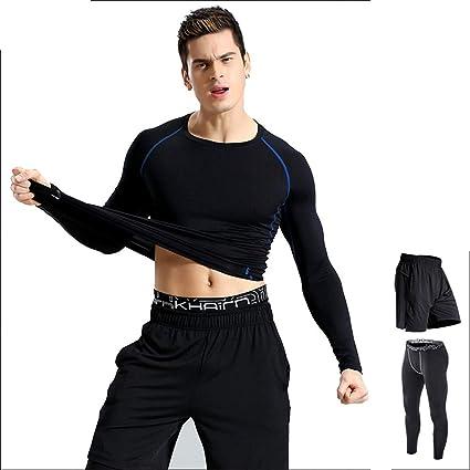fdd9f2e5962 Chengzuoqing 3 Pcs Mens Fitness Gym Clothing Set Sports Wear ...