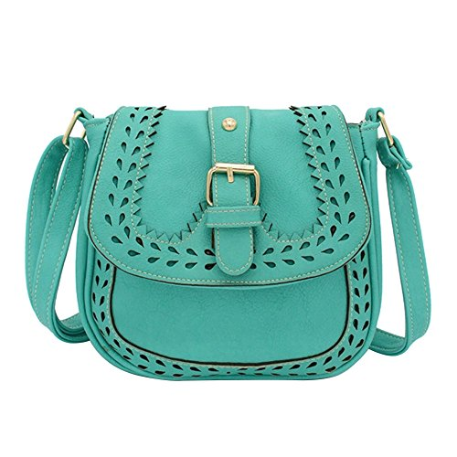 Bag Bag Ladies PU Lake Blue Pattern Crossbody Leather Small Handbag Hollow Shoulder Messenger qFFvBY