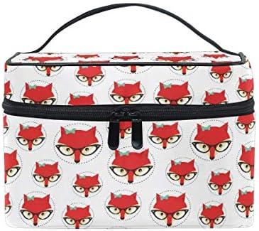Bolsa de Maquillaje de Viaje Animal Fox Print Estuche de cosméticos portátil Organizador Bolsa de Aseo Bolsa de Maquillaje Estuche de Tren de Maquillaje para Mujeres Niñas: Amazon.es: Equipaje