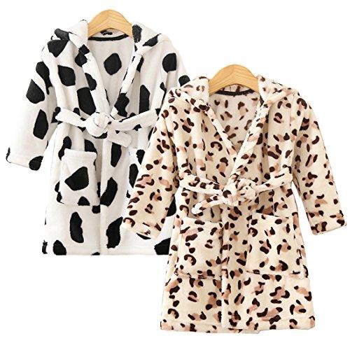 Kilofly 2 Sets Soft Cozy Flannel Hooded Bathrobe Toddler Kids Pajama Sleepwear