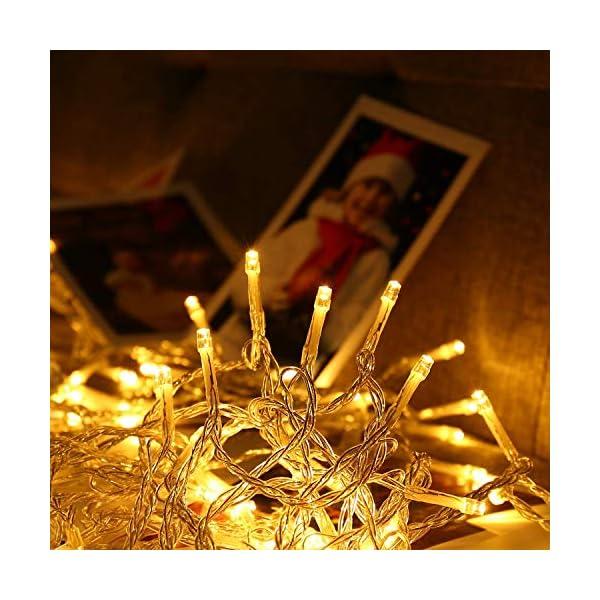 Qedertek Catena Luminosa, Cavo trasparente, Luci Stringa 23 Metri 200 LED, Addobbi Natalizi per Albero di Natale, Luce Natalizie per Decorazione Interno (Bianca Calda) 2 spesavip