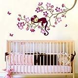 Carejoy Cute Monkey Pink Flower Blossom Tree Wall Art Decor Decal Nursery