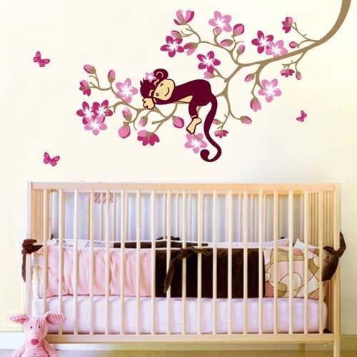 Amazon.com : Carejoy Cute Monkey Pink Flower Blossom Tree Wall Art Decor  Decal Nursery : Baby