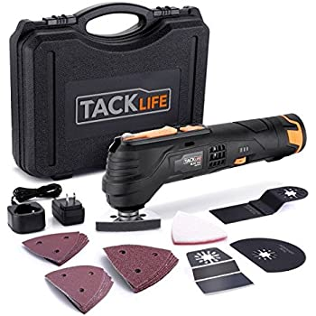 Oscillating Tool, Tacklife 12V 6 Variable Speed Lithium-Ion Cordless Oscillating Multi-Tool with LED, Great for Sanding / Polishing / Cutting / Scraping / Cleaning, 23pcs Accessories Included, PMT01B