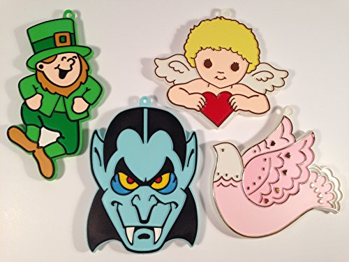 (Hallmark Set of 4 Decorative Holiday Cookie Cutters ~ Vintage 1979 Halloween, Valentine, St. Patrick's Day ~ Dracula Vampire, Cupid with Heart, Pink Dove, Leprechaun ~ NEW in Package)