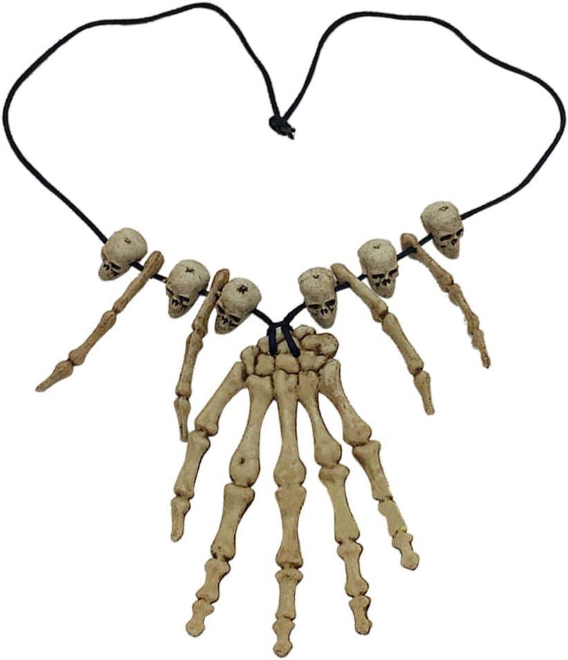 Amosfun Skull Pendant Necklace Skeleton Head Hand Bone Charm Cosplay Fancy Party Jewelry