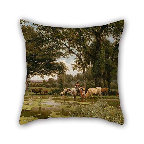 TonyLegner Pillow Shams of Oil Painting Joaquim Vayreda - Summer Bloom for Saloon Play Room Indoor Kitchen Relatives Kids 18 X 18 Inches / 45 by 45 cm(Each Side) (Echo Circle Velvet)