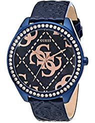 GUESS Womens U0473L1 Iconic Blue & Rose Gold-Tone Watch with Blue Logo Embossed Genuine Patent Leather Strap
