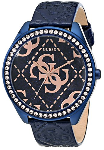GUESS-Womens-U0473L1-Iconic-Blue-Rose-Gold-Tone-Watch-with-Blue-Logo-Embossed-Genuine-Patent-Leather-Strap