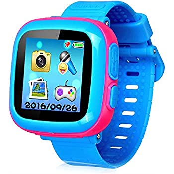 """Game Smart Watch for Kids, Kids Smartwatch, Children's Camera 1.5 """"Touch Screen Pedometer 10 Games Timer Alarm Clock Health Monitor Boys Girls Game Watches( Joint Light-Blue&Pink)"""