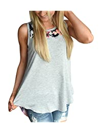 Imixshop Women's Tank Tops Sleeveless Floral Print Cami Casual High Low Blouse Vest
