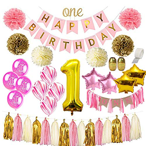 1st Birthday Girl Decorations | Mega Bundle! | With High Chair Banner for Baby | Discount Direct Mega Bundle Kids Party Decorations - Pink & Gold Girls Set | #1 -
