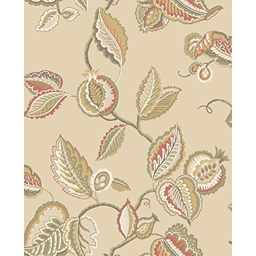 York Wallcoverings WA7762 Waverly Classics Fantasy Fleur Wallpaper, Buff/Cream/Beige/Russet/Olive/Amber/Dark Chocolate (Russet Olive)