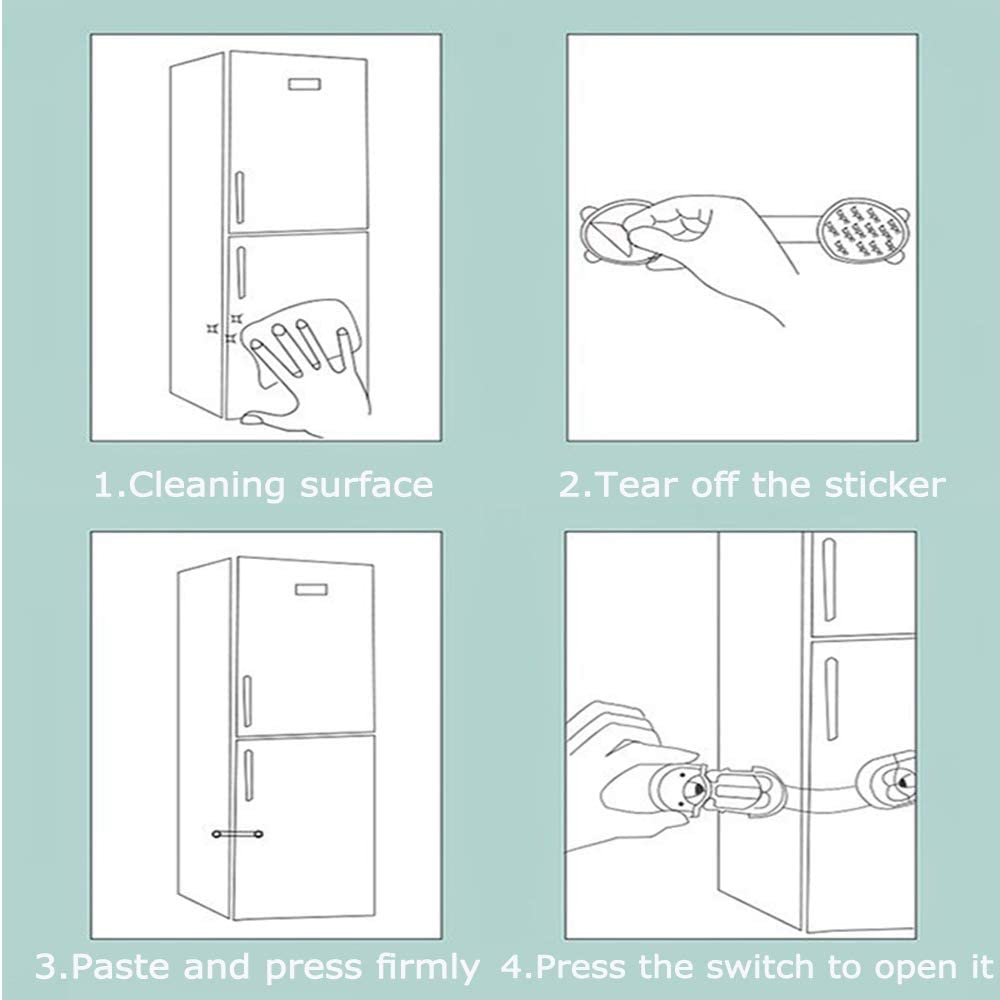 Child Safety Locks for Kitchen Cupboards Self Adhesive Baby Proofing Cabinet Latch for Door Closet Refrigerator Drawer Trash Fridge Seal-10Pcs