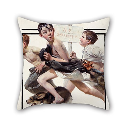 [Loveloveu Oil Painting Norman Rockwell - No Swimming Throw Pillow Covers 16 X 16 Inches / 40 By 40 Cm For Bar,christmas,car,home,study Room,home Office With Twice] (Kathy Terry Costume)
